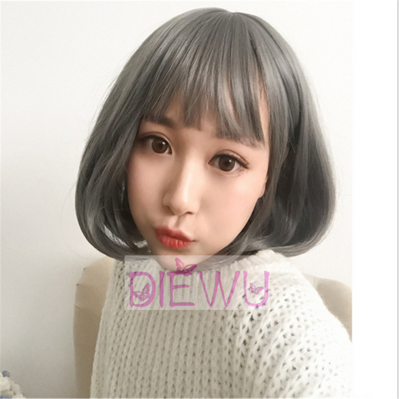 Cosplay Short Bob Gray Grey Sliver Hand Tied Wigs None Lace Straight Heat Resistant Synthetic Hair Full Wigs With Baby Hair(China (Mainland))