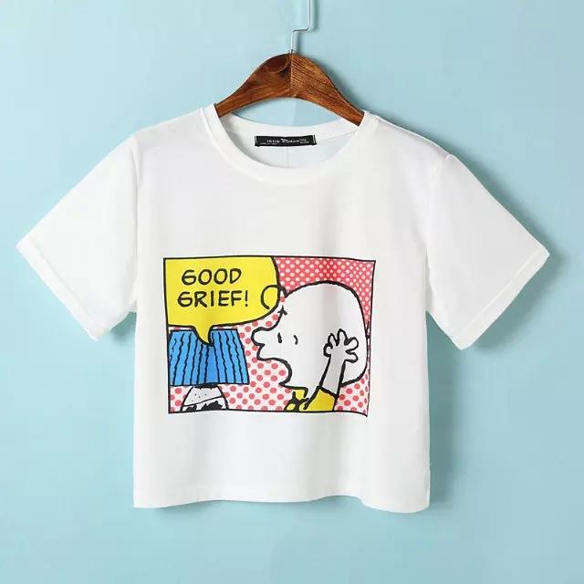 2015 cute cartoon boy print t shirt women summer crop top for Cute summer t shirts