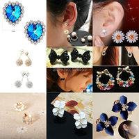 Romantic  Crystal Summer Earrings Jewelry For 2015 Vintage Flower Stud Earrings For Women 10 Styles Hot Sales
