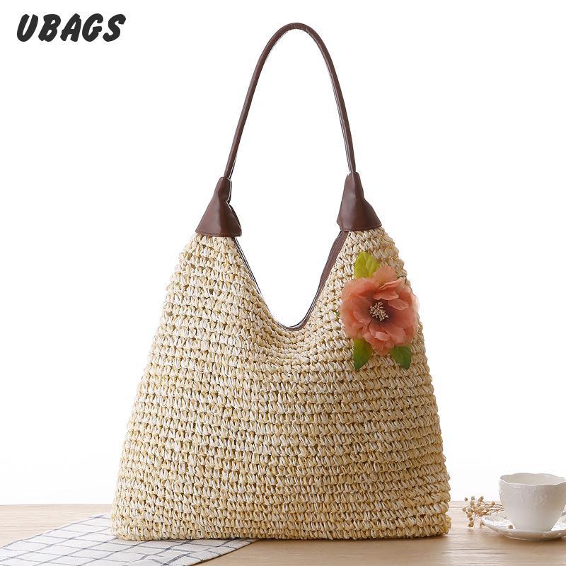 Pastoral Flowers Temperament Pu Handle Shoulder Straw Bag Woven Beach handbag