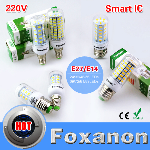 Foxanon Brand E27 E14 Led Light 220V 5730 SMD Corn Bulb 24 36 48 56 69 72 81 89Leds Lamp Smart IC Power lampada led Lighting(China (Mainland))