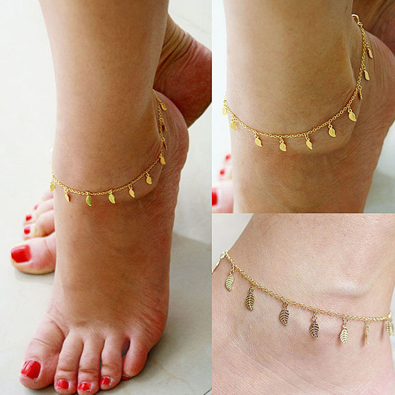 Beach Summer Style Gold Leaves Pendant Chains Anklets Ankle Foot Jewelry Barefoot Foot Accessories Free shipping(China (Mainland))