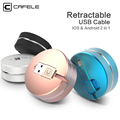 CAFELE 2 in 1 retractable USB charging Cable For iPhone 7 6s plus 5s SE compatible
