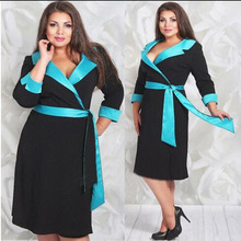 2016 New AUTUMN women dress three quarter sleeve turn down collar knee-length casual loose dress with sashes plus size female
