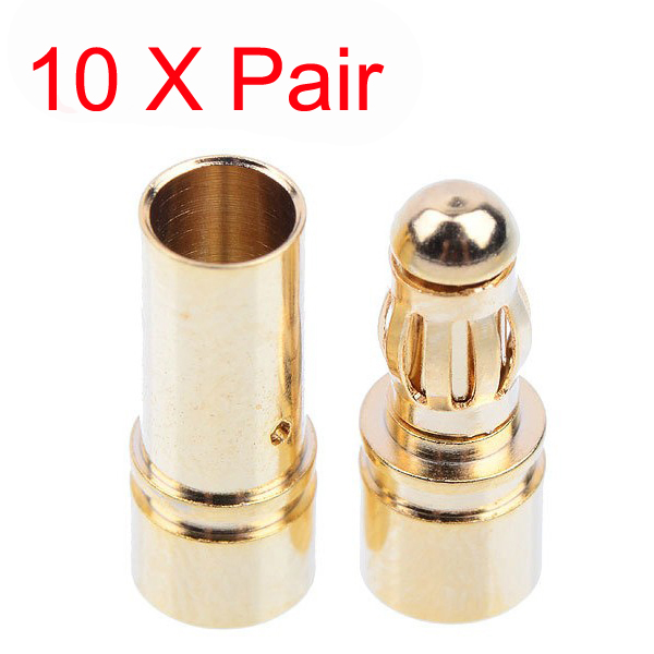 Wholesale 10x 3.5mm Gold Bullet Banana Plug Connector RC ESC Battery Motor Connector(China (Mainland))