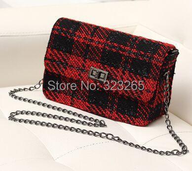 Черный и белый решетки цепи одного плеча мешок, Красный и черные линии твидовые сумка, Мода роскошный высококачественный материал