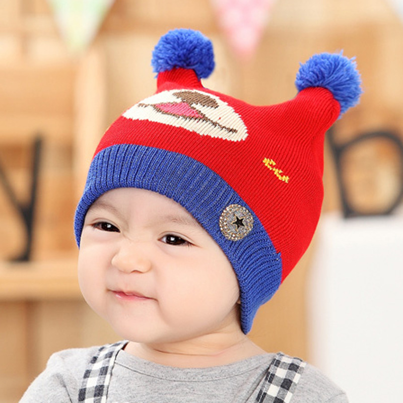 Winter hat kids knitted warm ear cartoon newborn toddler girl hats photography props hats for baby 2015 new hats 0-2years(China (Mainland))