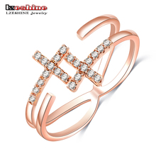 Buy LZESHINE 2016 New Summer Style Cross Opening Rings Silver Gold/Rose Gold Color AAA Zirconia Hot Russia Loving Rings CRI0526 for $1.98 in AliExpress store