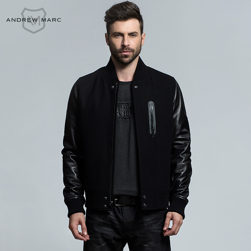 ANDREW MARC 2016 New Arrival Autumn & Winter Genuine Leather Wool Blends Men's Jacket Coat Short Slim Outwear TM6AN001(China (Mainland))