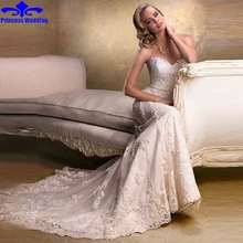Buy 2017 White Ivory Long Tulle Mermaid Lace Bride Wedding Dresses Removable Straps Chaptel Train Bridal Gowns for $175.12 in AliExpress store