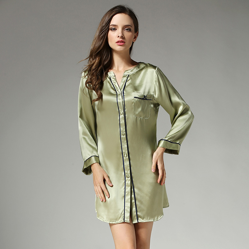 New sale summer sexy women sleepshirts 100% silk quality Pure color nightgowns for womens noble elegant ladies nightshirts S3632(China (Mainland))
