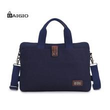"Baigio Men's Canvas Briefcase Bag 14"" Laptop Business Travel Tote Shoulder Bag Vintage Style Men Messenger Bag(China (Mainland))"
