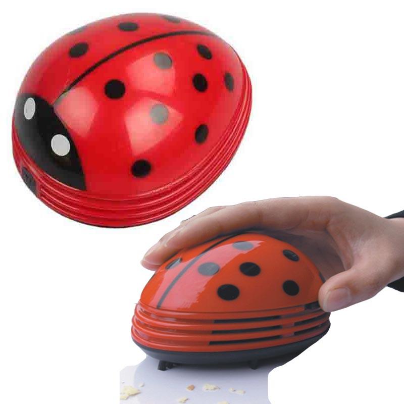 Portable mini vacuum cleaner Cute Beetle Ladybug cartoon Desktop keyboard Vacuum Desk Dust Cleaner collector for home office(China (Mainland))