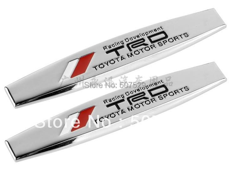 2X TRD Racing Developement  fender emblem badge metal car decal sticker Toyota Motor Sports Fit For Corolla Camry RAV4 Yaris