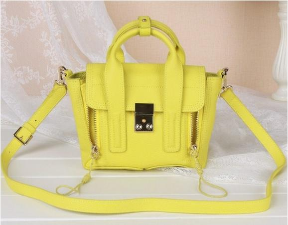 2014 Famous Brand P.Lim Classical 3.1 Pashli Genuine Leather Mini Suitcase Neon Hasp Double Zipper Top Quality Messenger bag(China (Mainland))
