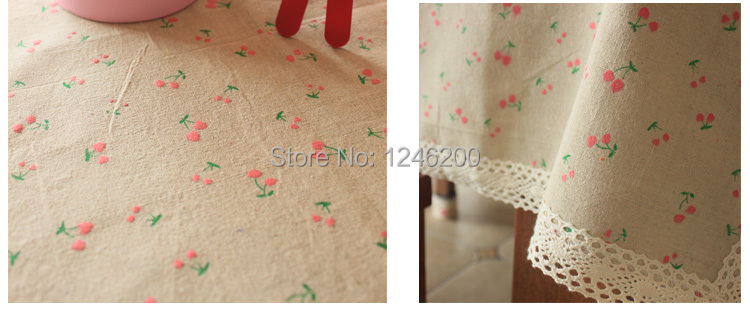hot sale printed lace tablecloth of pastoral table cloth made on cotton linen table cloth fabric size 150X220CM(China (Mainland))