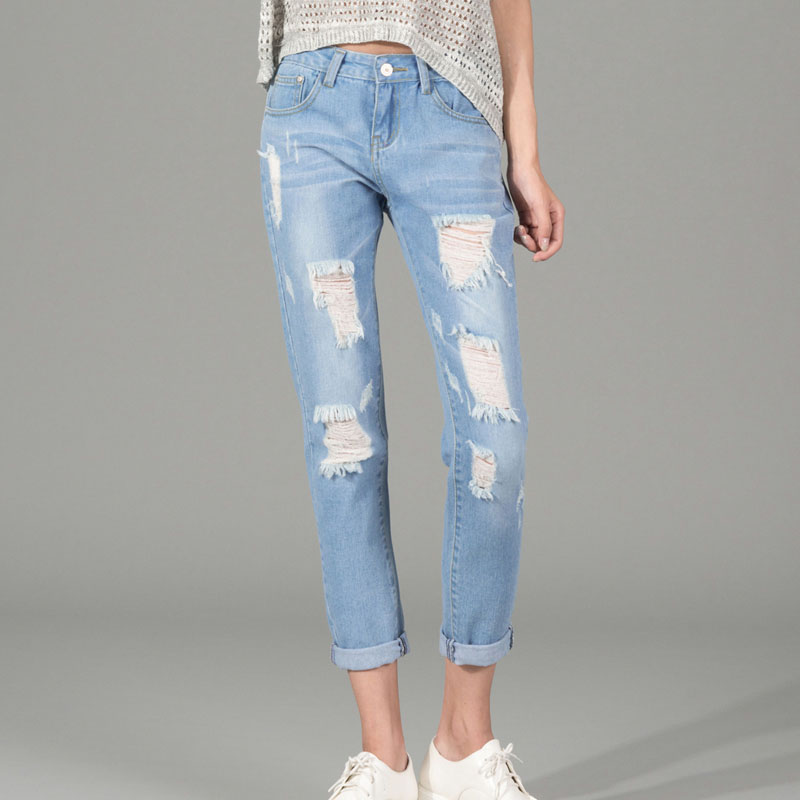 Distressed Ripped Jeans For Women - Jon Jean