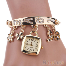 Flower Heart Love Style Rhinestone Stainless Steel Chain Bracelet Wrist Watch women