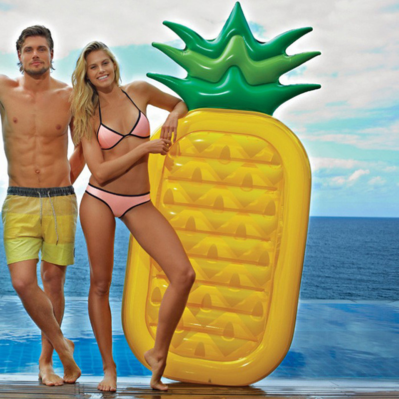 BIG SALE! Summer Beach Toy 180CM Pineapple Inflatable Toys Pool Float Party Games Giant Air Mattress Floating Bed with Feet Pump(China (Mainland))