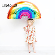 Buy 1pc 90*60cm colourful Rainbow foil balloons wedding decoration birthday party decoration kids classic toys holiday supplies for $1.70 in AliExpress store