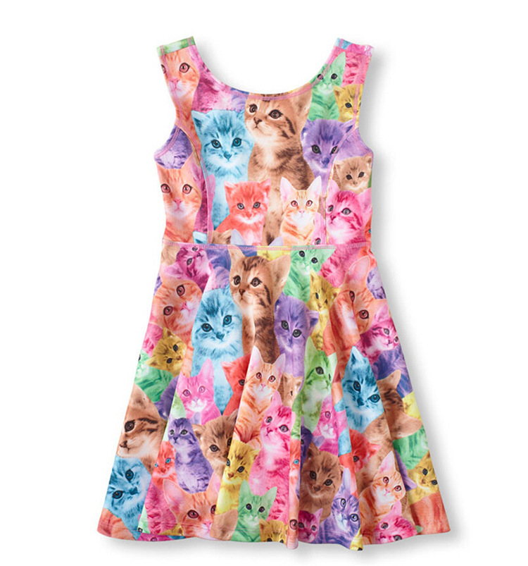 New Arival Summer girl dresses Baby Clothing dress girls Clothes kids animal design cat dog rabbit print high quality colorful(China (Mainland))