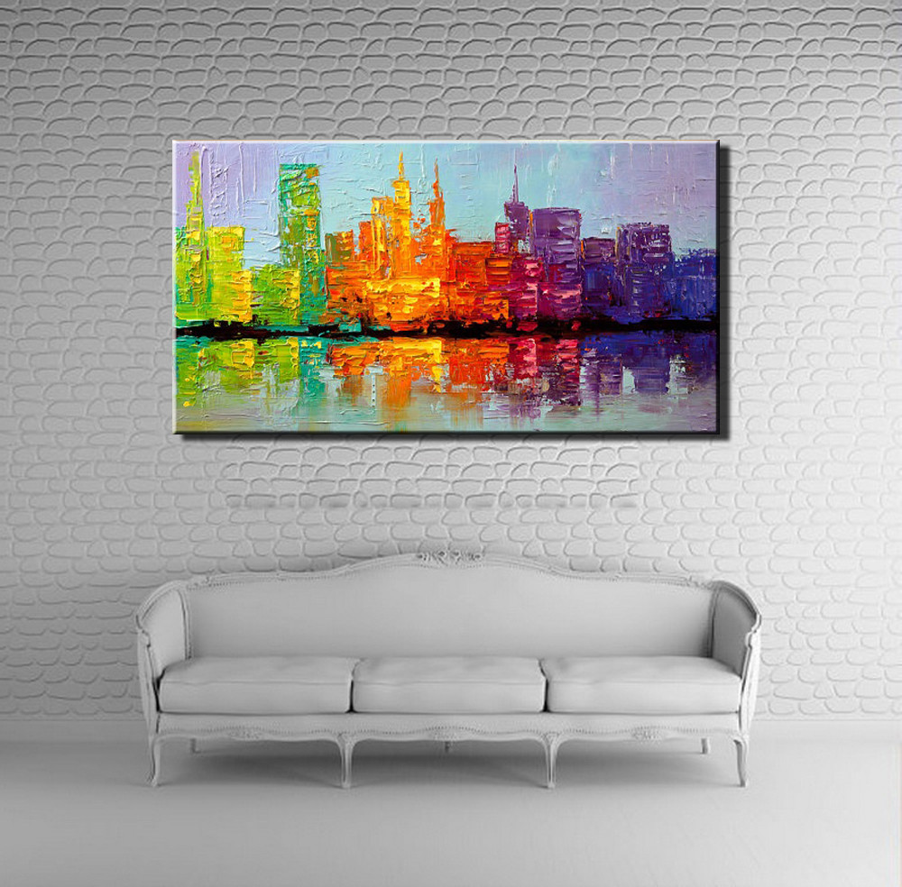 Buy Large acrylic knife paint Hand painted abstract wall art building city oil painting on canvas for wall decor living room picture cheap