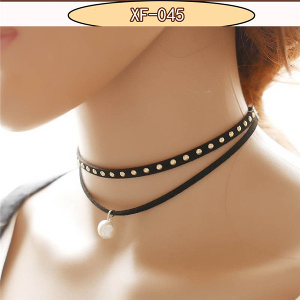 Women's Choker Necklace Fashion Punk Black Leather Silver Studs 2016 Hot False Collar Necklaces for women collier Bijoux jewelry(China (Mainland))