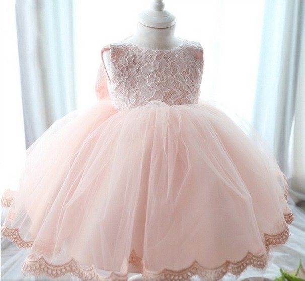 Elegant Girl Dress Girls 2015 Summer Fashion Pink Lace Big Bow Party Tulle Flower Princess Wedding Dresses Baby Girl dress,0-2Y(China (Mainland))