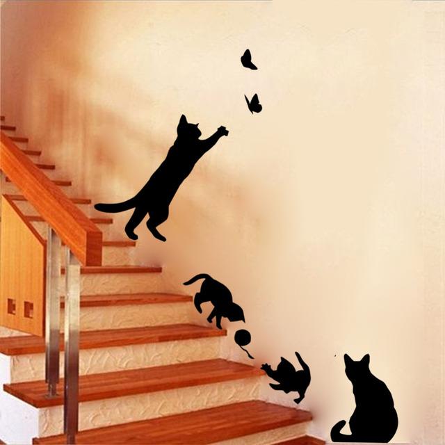 Новое поступление Cat играть стикер стены бабочки наклейки декора наклейки для стен винил съемная этикета / настенные фрески
