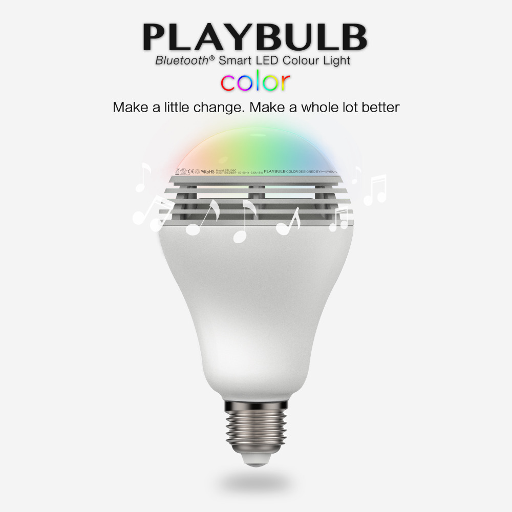 mipow Playbulb Bluetooth Speaker Smart Dimmable LED Light Bulbs Color Changing Lighting Romantic party Lights E26 E27 3W(China (Mainland))