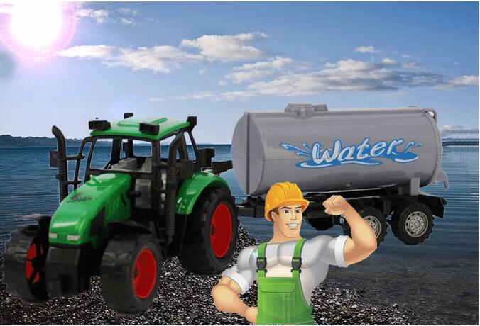 Simulation of large water tanker tractor farmer car children toy car model(China (Mainland))