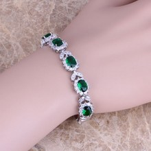 Silky Inexperienced Emerald White Topaz 925 Sterling Silver Overlay Hyperlink Chain Bracelet 7 inch Free Transport & Jewellery Bag S0401
