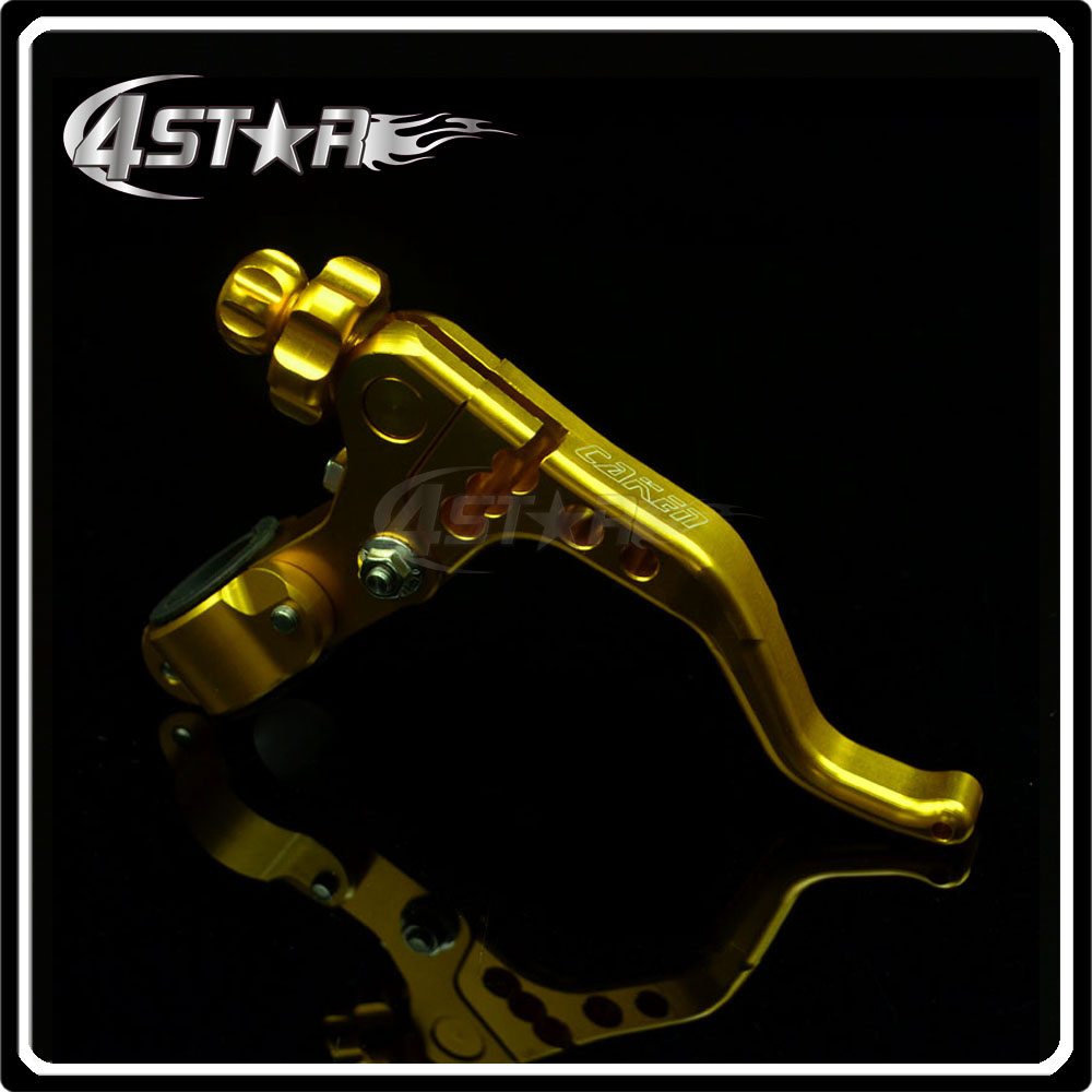 Yellow Billet CNC Pivot Short Adjustable Clutch Lever With Clamps Specially Racing Moto Motorcycle Dirt Pit Bike CR CRF KTM YZF(China (Mainland))