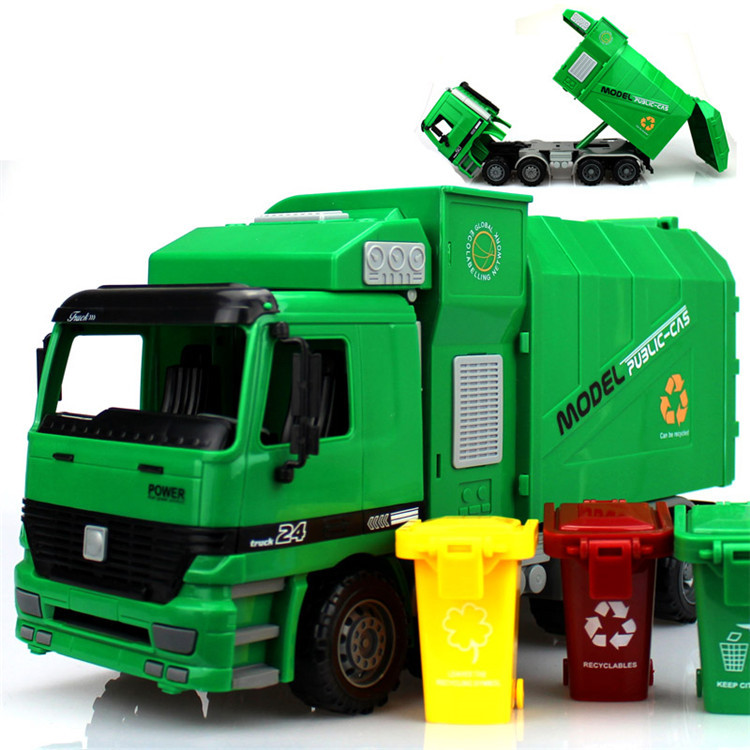 Large size inertia garbage truck waste truck with 3pcs trashes transport vehicle model toy as gift for boy children(China (Mainland))