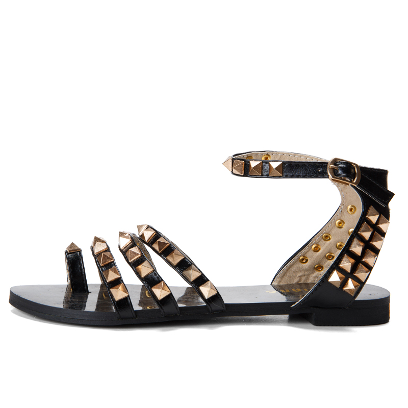 2016 Fashion Rivet Toe-Covering Flat Sandals Female Belt Open Toe Flat Heel Shoes Women's Casual Flats Shoes With Box Ladies(China (Mainland))