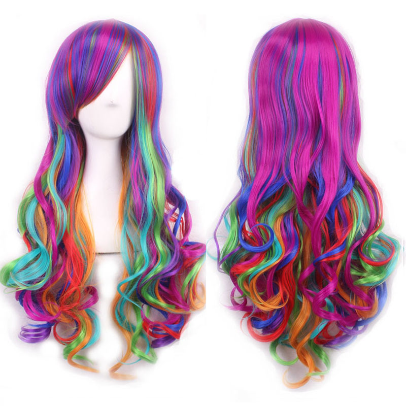 wavy european wig ombre pastel rainbow wig long multi color wigs cosplay women natural hair heat resistant synthetic wigs curly(China (Mainland))