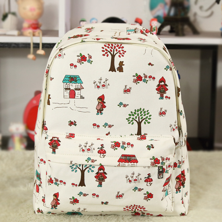 The New Style Little Red Hat Printed Canvas Backpack Shoulder Bag Of Men And Women Han Banchao Student Bag Wholesale(China (Mainland))