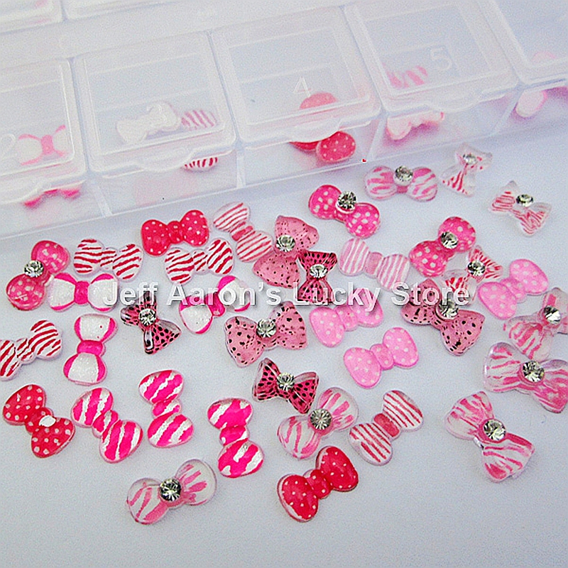 Buy 60pcs 3d pink resin bow rhinestone for Acrylic nail decoration supplies