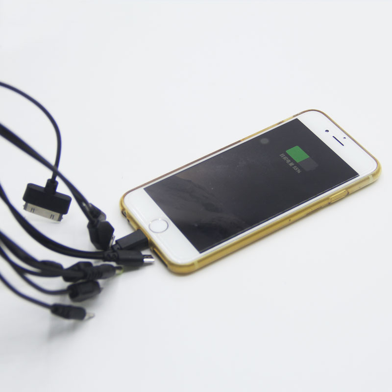 Universal Dual 2 Port USB Car Charger + Multi 10 in 1 Mobile Phone USB Charger Cable