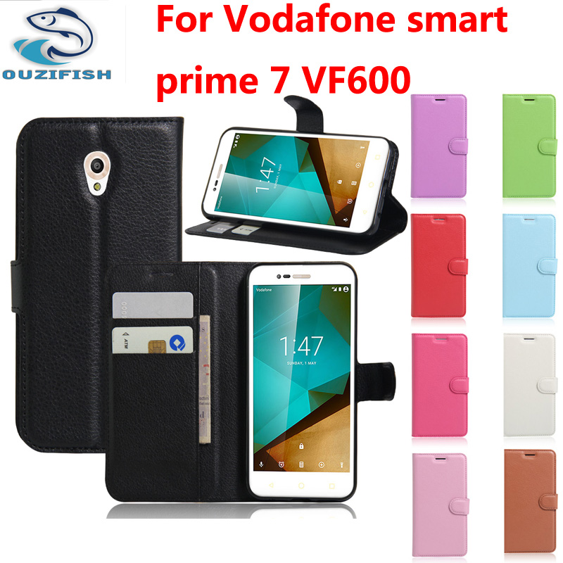 (OUZIFISH)Luxury Wallet Flip PU Leather Case Cover For Vodafone Smart Prime 7 VF600 Case Cell Phone Shell With Card Holder Stand(China (Mainland))