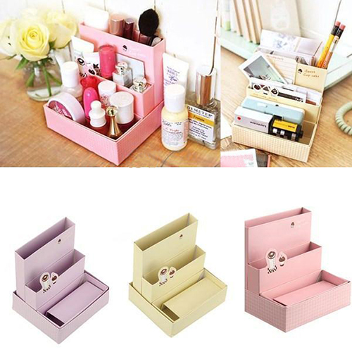 2015 new foldable mini diy paper board storage desk decor - Desk stationery organizer ...