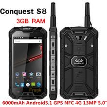 ЗАВОЕВАНИЕ S8 IP68 Водонепроницаемый телефон 6000 мАч PTT Телефон Walkie Talkie телефон GPS NFC 13MP 3 ГБ RAM 32 ГБ Quad core Ip68 смартфон(China (Mainland))