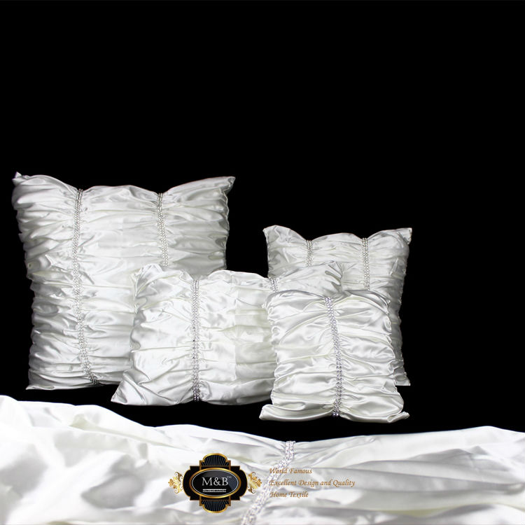 shining diamond design show room villa top quality white silk-like long bed flag/bed runner/bedding/home/sofa decoration/textile(China (Mainland))