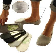 Chinelos meias masculinas de fibra de Bambu Não-slip Silicone Invisível Barco Meias Moda Primavera Verão Masculino meias 10 pcs = 5 pares/lote