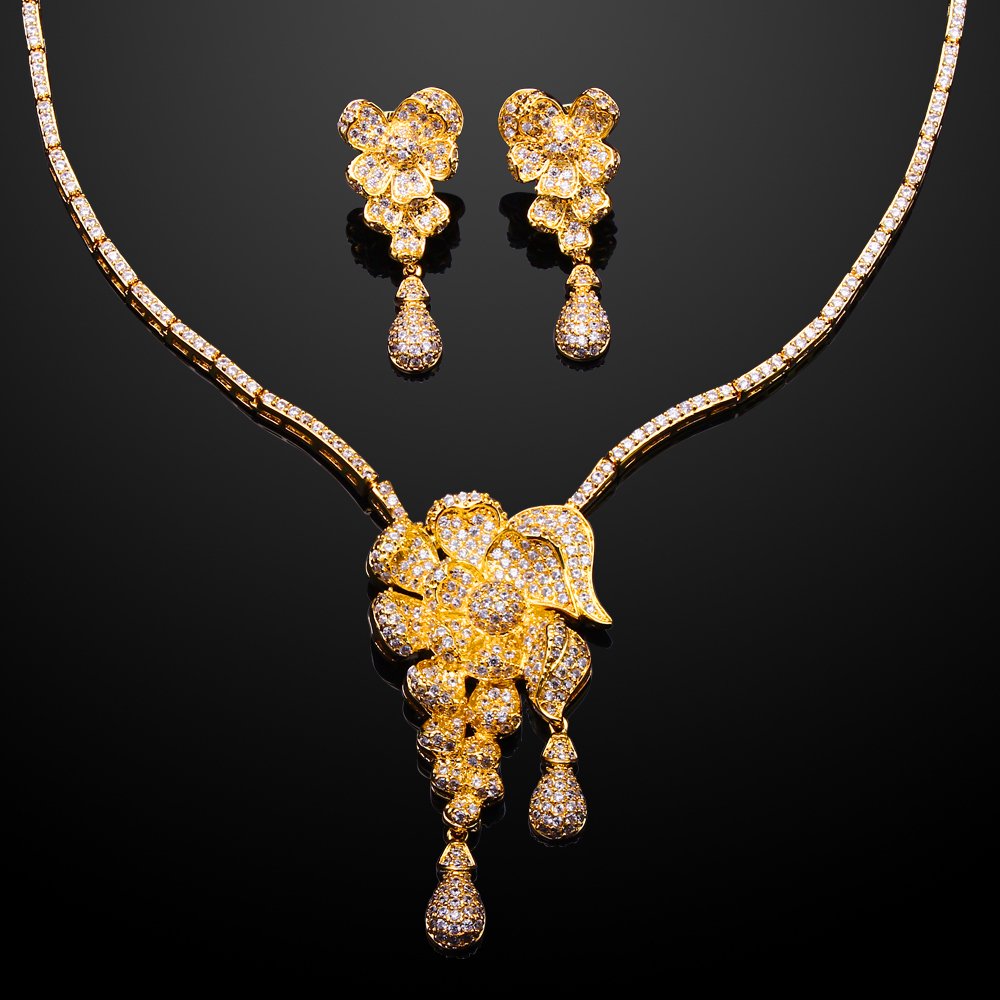 (Beauty) AAA Cubic Zirconia Rose  Necklace Earrings Jewelry Sets 18k Gold and Platinum Plated Cadmium Free  Wedding Sets