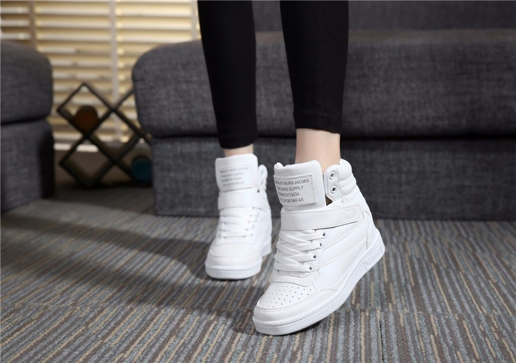 Casual Women Shoes Height Increasing Winter Casual Shoes Women Sport Pu Leather Shoes Round Toe White Boots Shoes