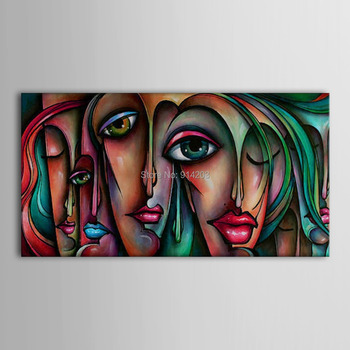Hand Painted Oil Painting People Sex Girl Big Eyes Wall Art