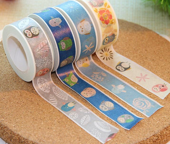 Free ship!1lot=20pc!owl color hand torn and paper tape /tear Decorative cute cartoon Adhesive tapes/ 10m(China (Mainland))