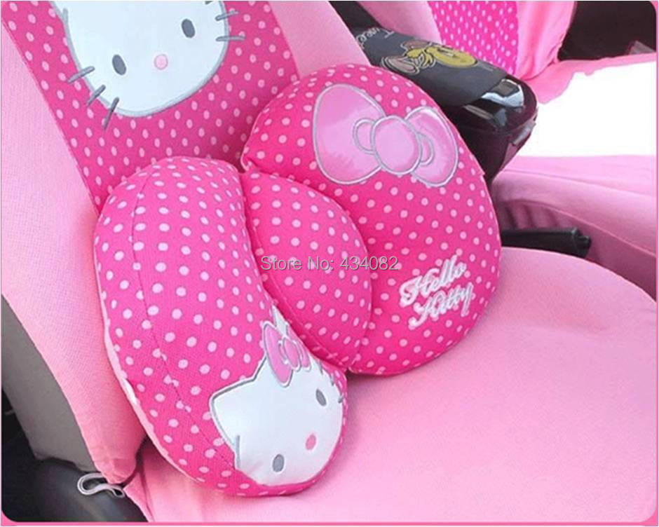 cartoon hello kitty car interior accessories back cushion mirror cover steering wheel cover. Black Bedroom Furniture Sets. Home Design Ideas