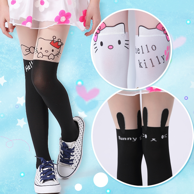 2016 summer Girls Cute Nylon stockings animals Patterned Double Color Splice Tattoo Pantyhose Over the Knee Tights 15061(China (Mainland))